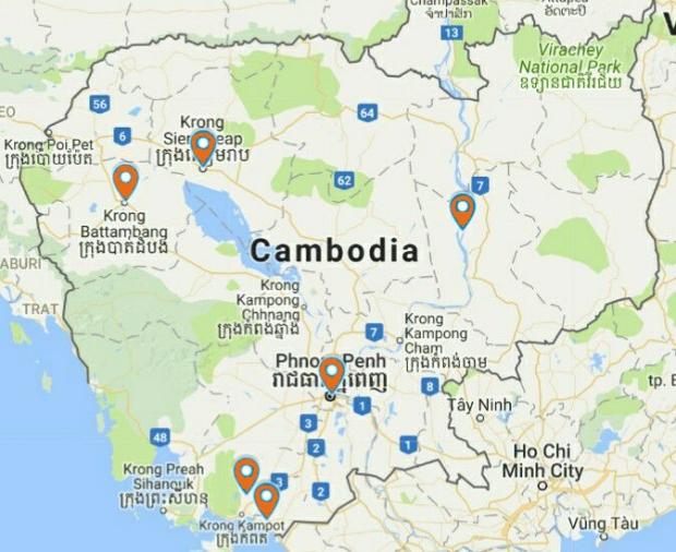 Lieux visités au Cambodge